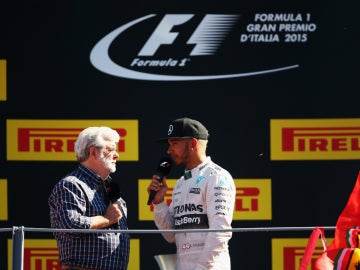 Lewis Hamilton con George Lucas GP de Italia