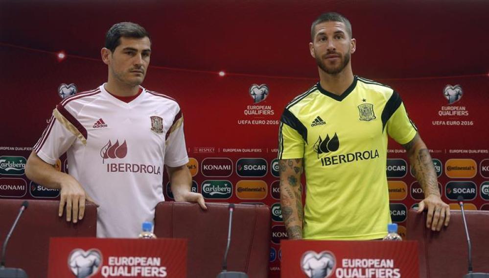 El defensa Sergio Ramos durante la rueda de prensa ofrecida
