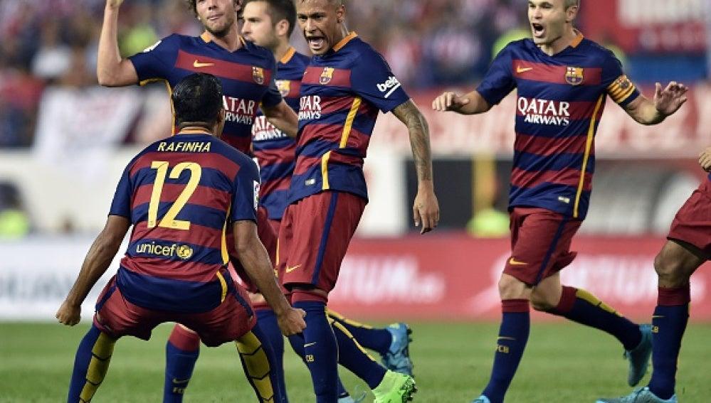 Neymar celebra con el Barça