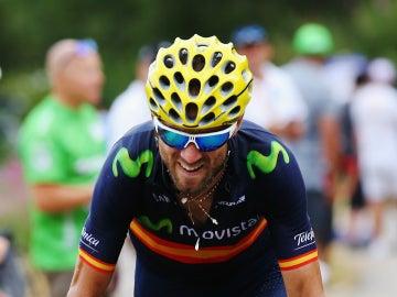 Alejandro Valverde, con gesto de esfuerzo