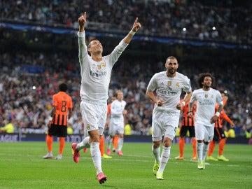 Cristiano Ronaldo celebrando su primer gol