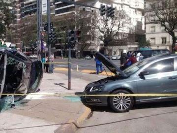 El coche de Zamorano, accidentado contra otro vehículo