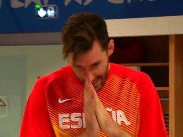Rudy, emocionado tras el partido contra Francia