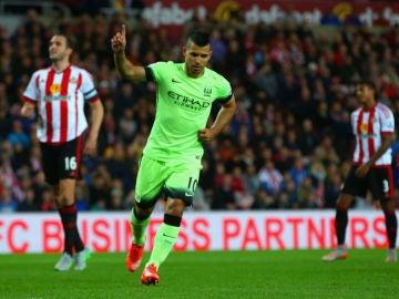 Agüero celebra un gol ante el Southampton