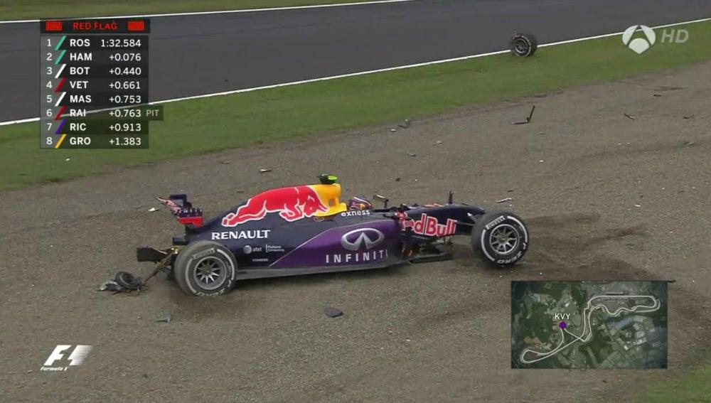 El Red Bull de Kvyat, tras su accidente