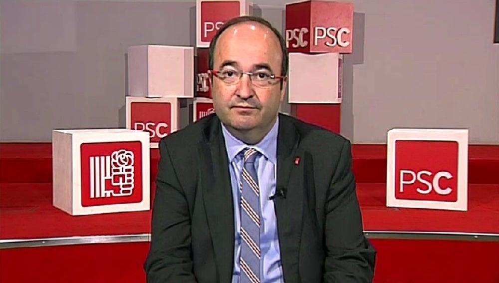 Miquel Iceta, candidato del PSC en Cataluña, durante una entrevista en Espejo Público