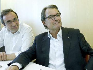 El presidente de la Generalitat en funciones, Artur Mas, en la reunión de CDC