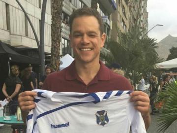 Matt Damon, con la camiseta del Tenerife