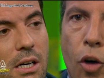Cara a cara entre Nacho Peña y Cristóbal Soria en 'El Chiringuito de Jugones'.