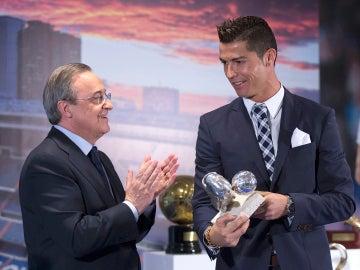 Florentino aplaude a Cristiano Ronaldo
