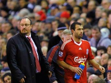 Mascherano y Benítez, en su época en el Liverpool