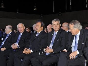 Ángel María Villar junto a Michel Platini en un evento de la UEFA