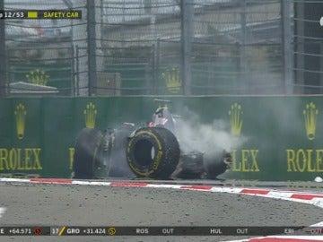 Imagen del accidente de Romain Grosjean en el GP de Rusia