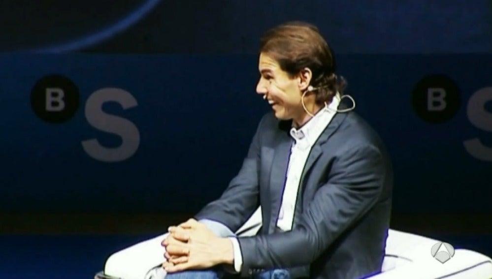 Rafa Nadal, durante una conferencia del Banco Sabadell