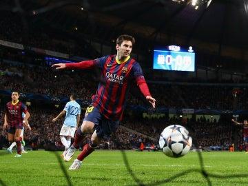 Leo Messi celebra un gol contra el Manchester City