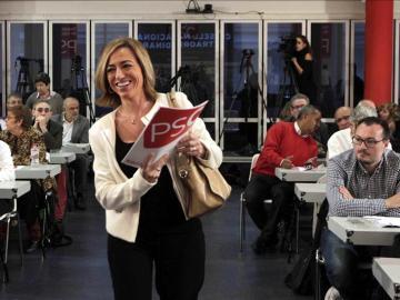 Carme Chacón durante la presentación de las listas del PSC