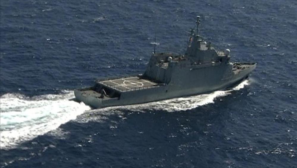 Uno de los barcos que trabaja en la búsqueda de los militares desaparecidos.
