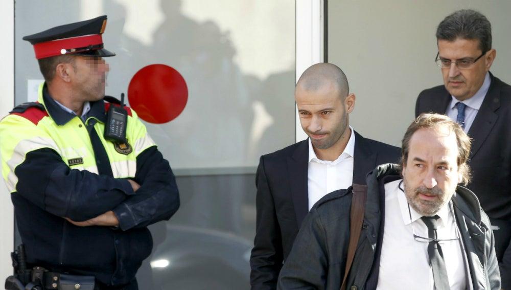 Javier Mascherano, saliendo del juzgado