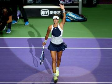 Garbiñe Muguruza celebra su victoria contra Kvitova