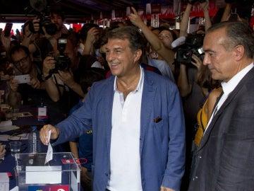 Laporta, durante las elecciones del Barcelona