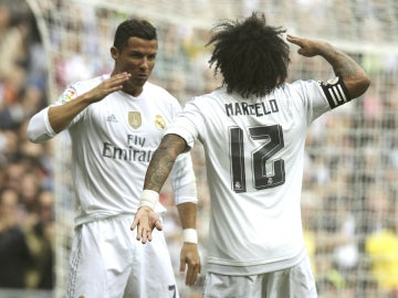 Cristiano Ronaldo celebra su gol con Marcelo
