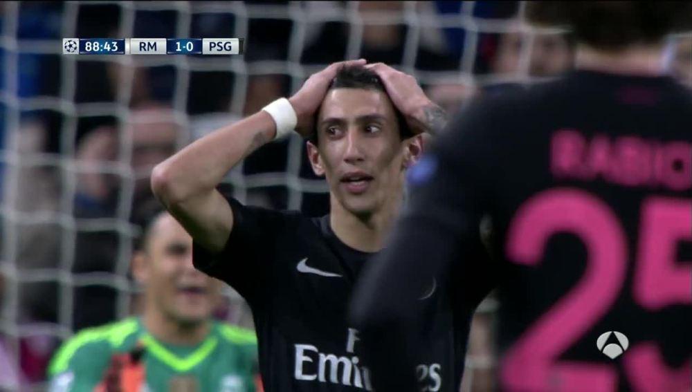Di María, tras fallar la falta que habría supuesto el empate en el partido