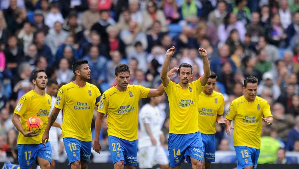 Las Palmas celebrando el gol ante el Real Madrid