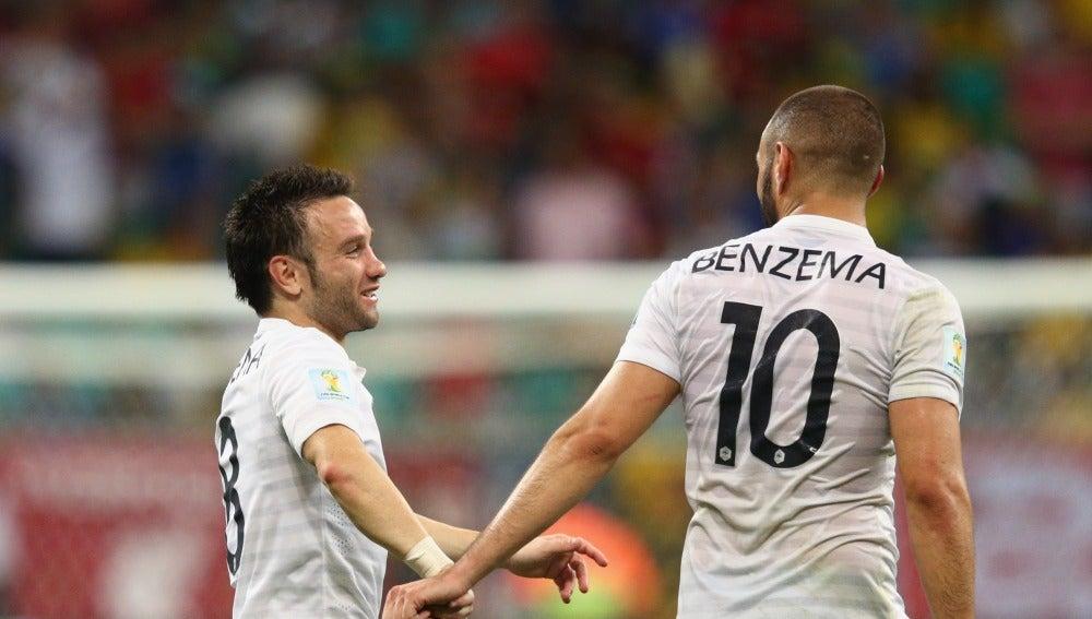 Valbuena y Benzema con la selección francesa
