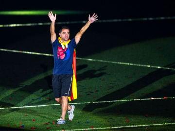 Xavi Hernández celebra un título con el FC Barcelona
