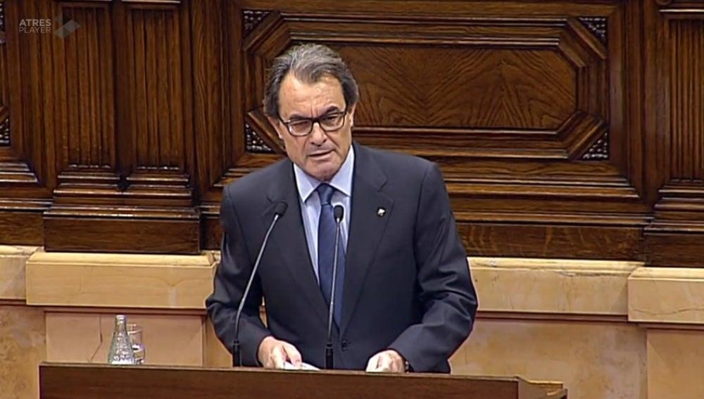 Artur Mas, durante el debate de investidura en el Parlament