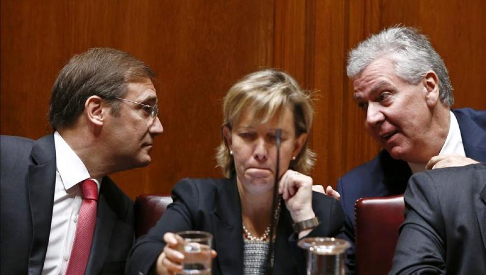 Pedro Passos Coelho, Maria Luis Albuquerque y Luis Marques Guedes.