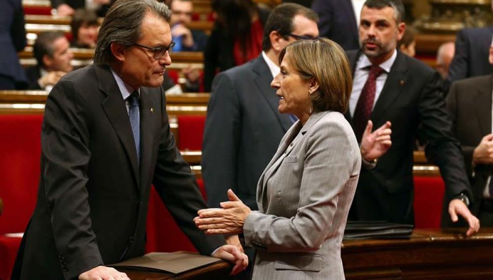 Artur Mas y Forcadell en el Parlament