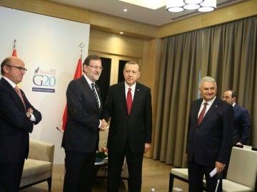 Mariano Rajoy y Recep Tayyip Erdogan durante el encuentro en el G-20