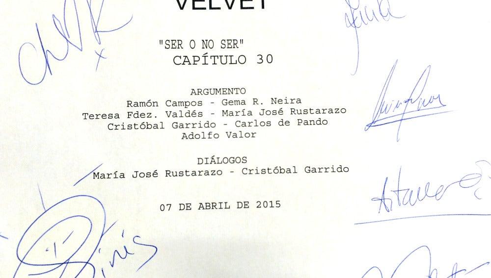 El segundo guión de la tercera temporada firmados por los actores de Velvet