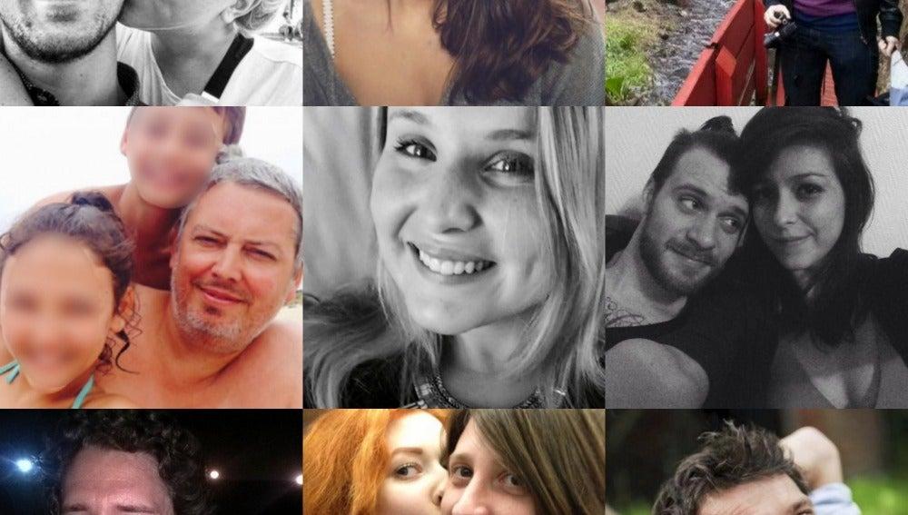 Algunos de los fallecidos en los ataques de París