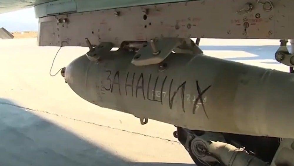 """Misiles rusos con el lema """"Por París"""""""
