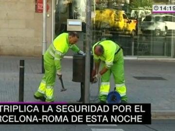 Retiran papeleras cerca del Camp Nou