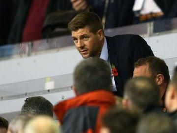 Steven Gerrard, en la grada de Anfield