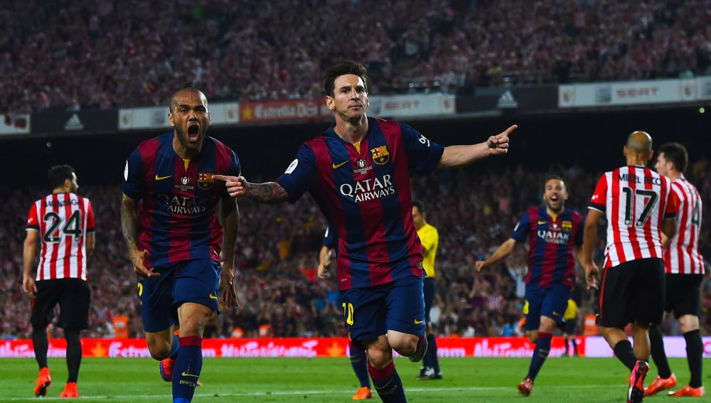 Messi celebra el gol ante el Athletic en la final de la Copa del Rey