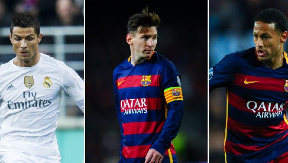 Cristiano Ronaldo, Leo Messi y Neymar