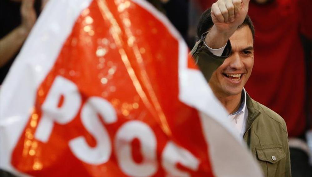 Pedro Sánchez en un acto de campaña