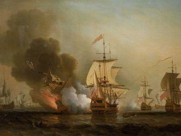 Pintura de la batalla entre el galeón San José y el navío inglés
