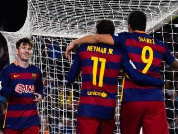 Leo Messi, Luis Suárez y Neymar