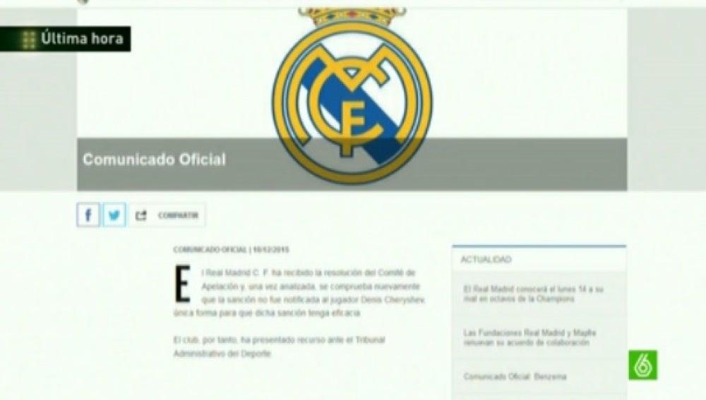 Comunicado del Real Madrid sobre la sanción en Copa