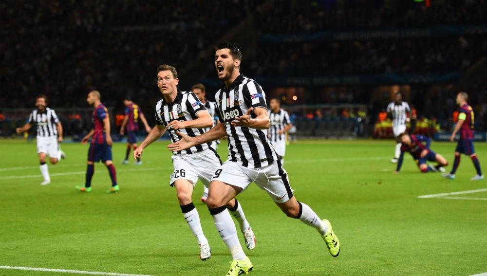 Álvaro Morata celebra su gol en la final de la Champions ante el Barcelona