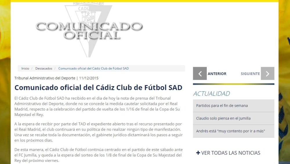 Comunicado oficial del Cádiz CF