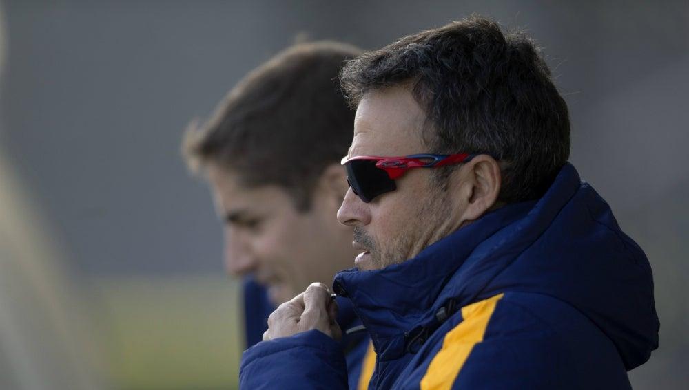 Luis Enrique, durante el entrenamiento del Barcelona