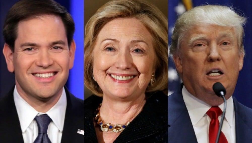 Rubio, Clinton y Trump