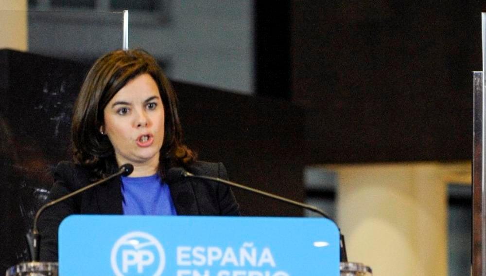 Soraya Sáenz de Santamaría, en un mitin