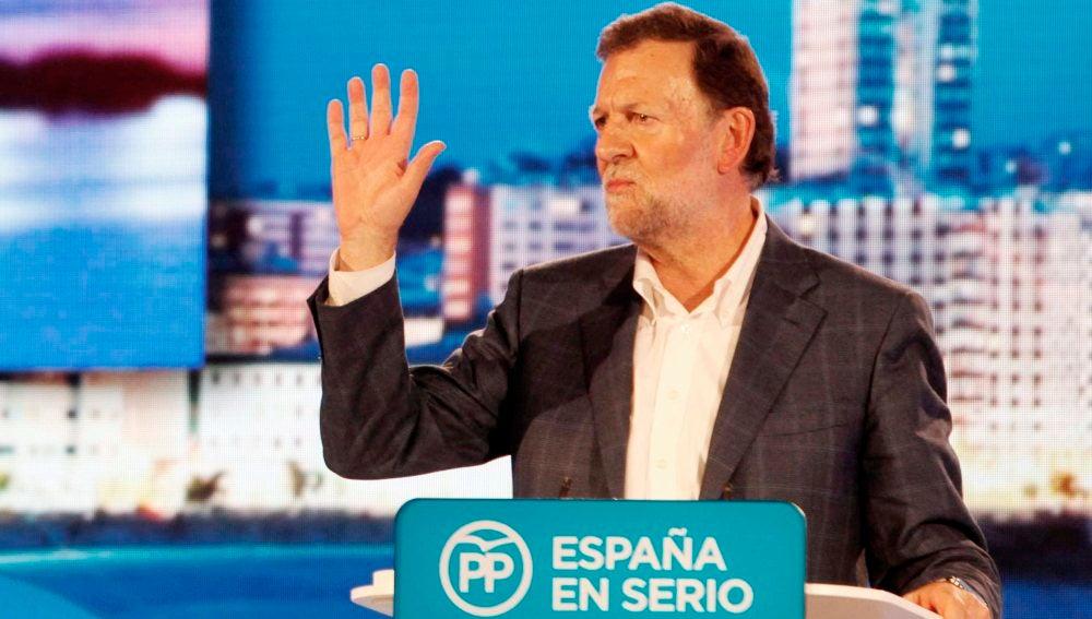El presidente del Gobierno y candidato a la reelección por el PP, Mariano Rajoy